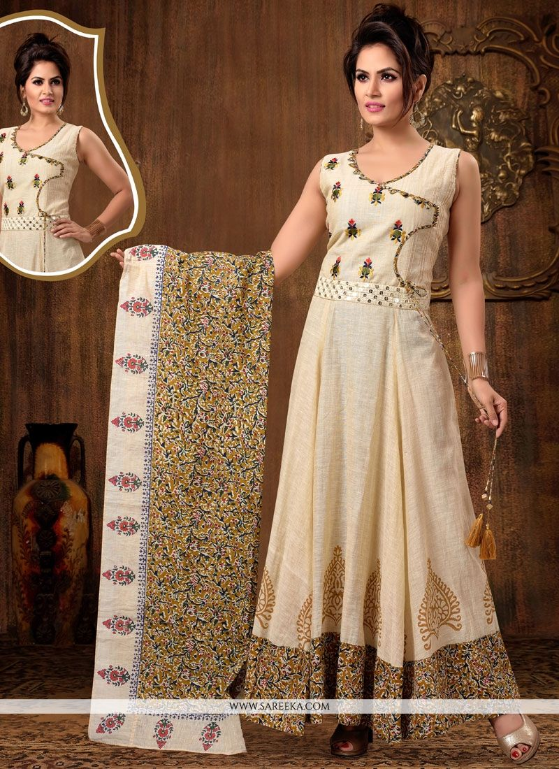 Embroidered Work Beige Readymade Anarkali Suit