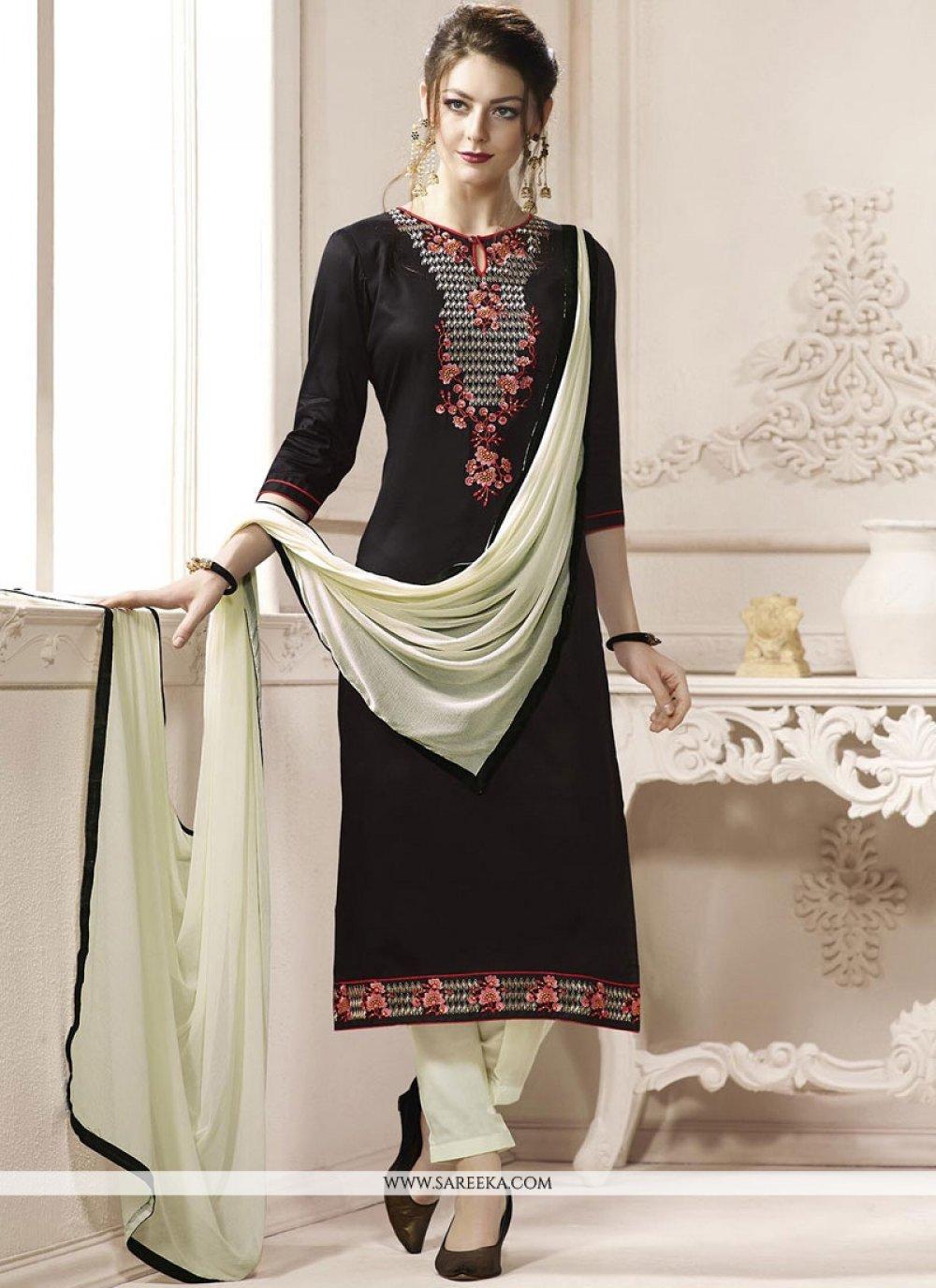 Embroidered Work Black Cotton   Churidar Suit
