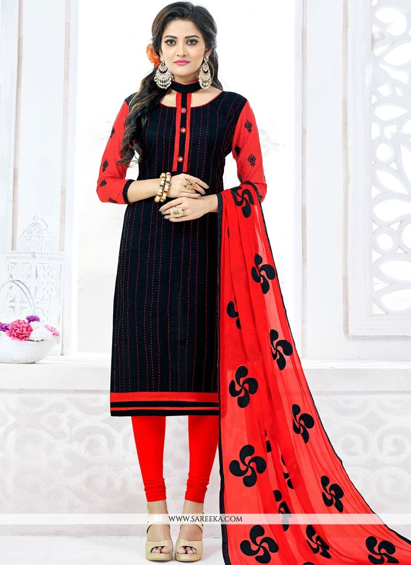 Embroidered Work Black Cotton   Churidar Suit