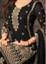 Embroidered Work Black Georgette Salwar Kameez