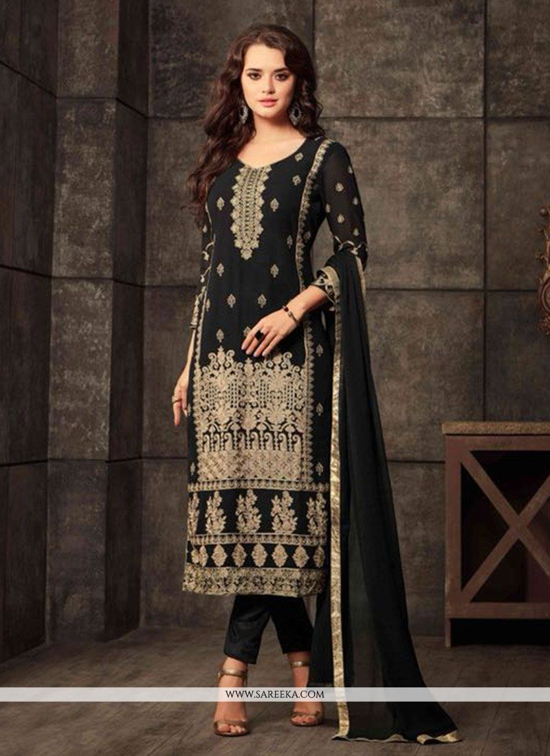 Embroidered Work Black Georgette Salwar Kameez