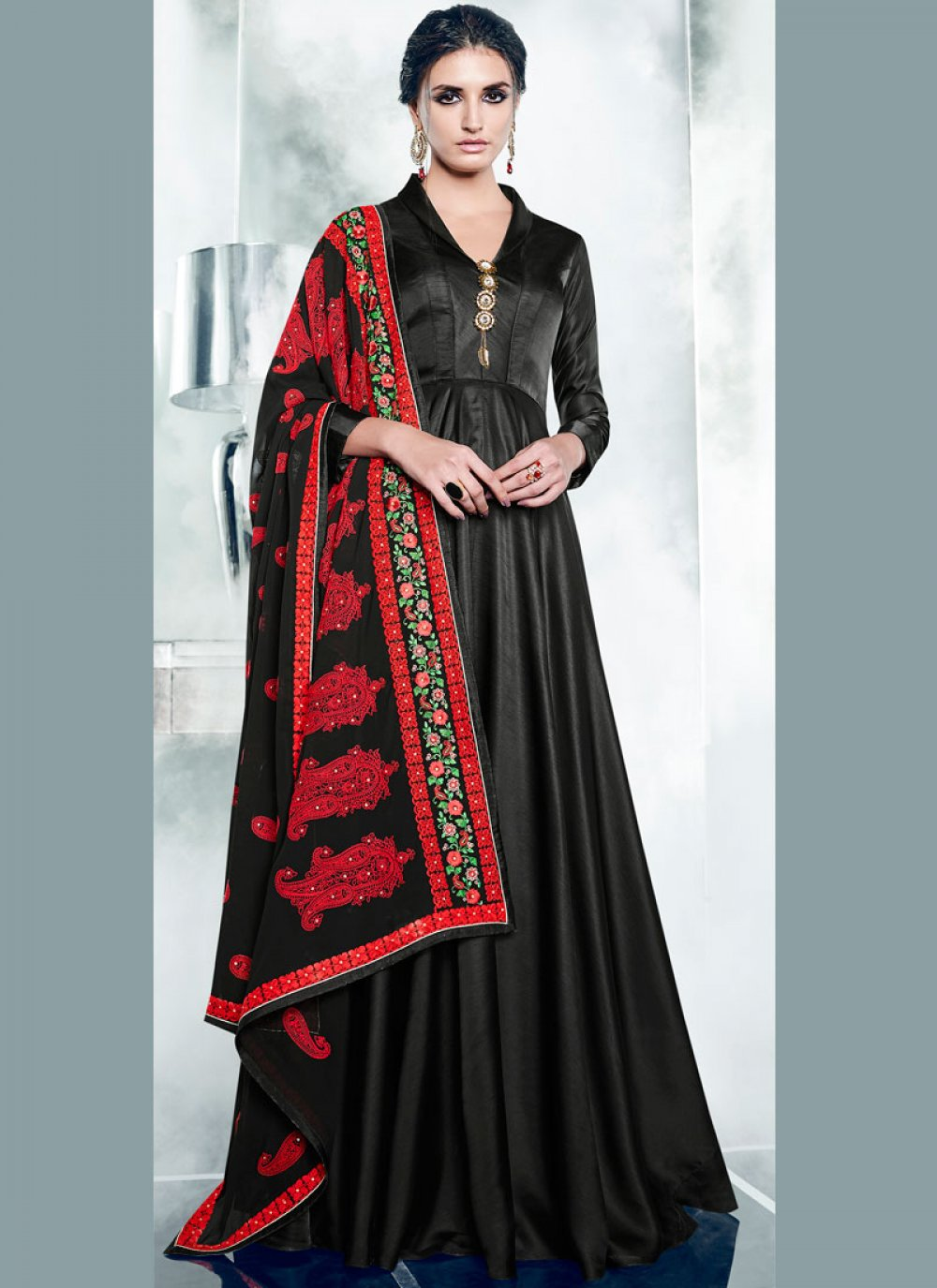 Embroidered Work Black Readymade Anarkali Suit