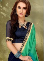 Embroidered Work Blue and Navy Blue Half N Half  Saree