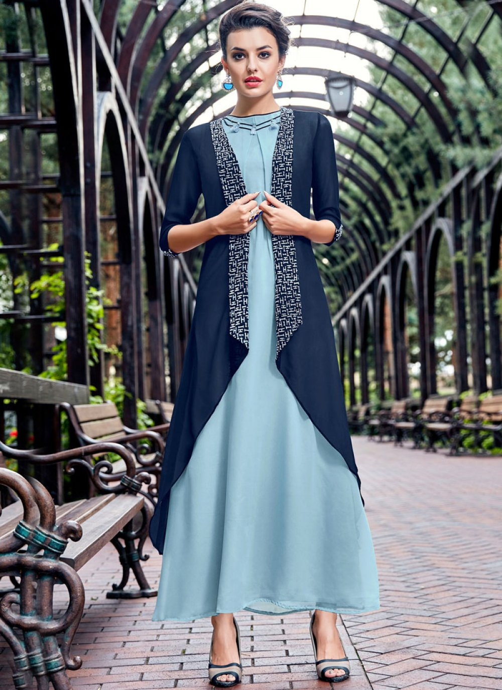 Embroidered Work Blue and Navy Blue Party Wear Kurti