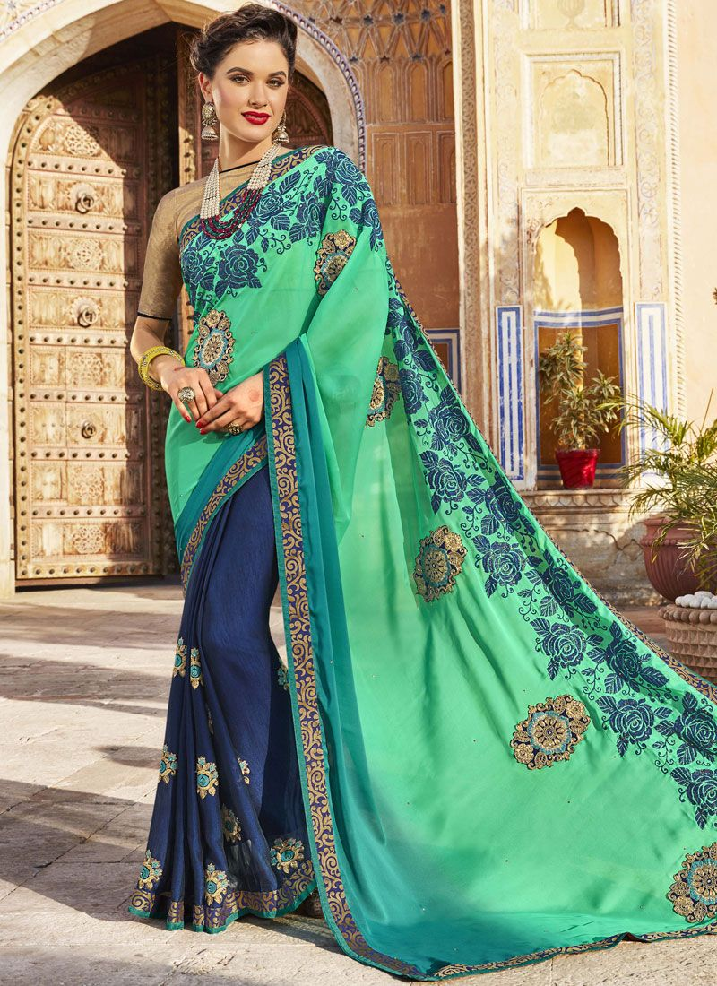 Embroidered Work Blue and Sea Green Bollywood Saree