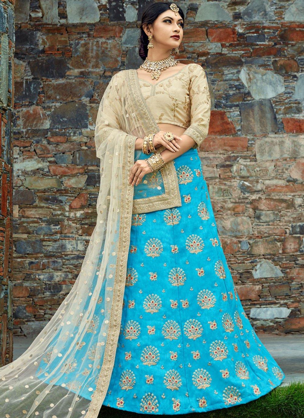 Embroidered Work Blue Art Silk Lehenga Choli