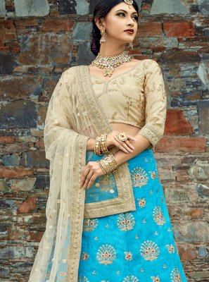 Embroidered Work Blue Art Silk Lehenga Choli