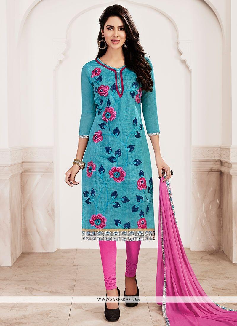 Embroidered Work Blue Chanderi Churidar Suit