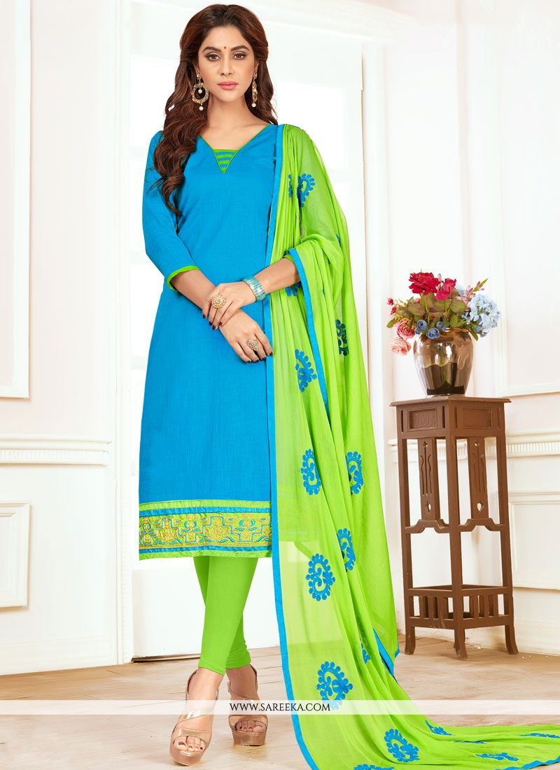 Embroidered Work Blue Cotton   Churidar Suit