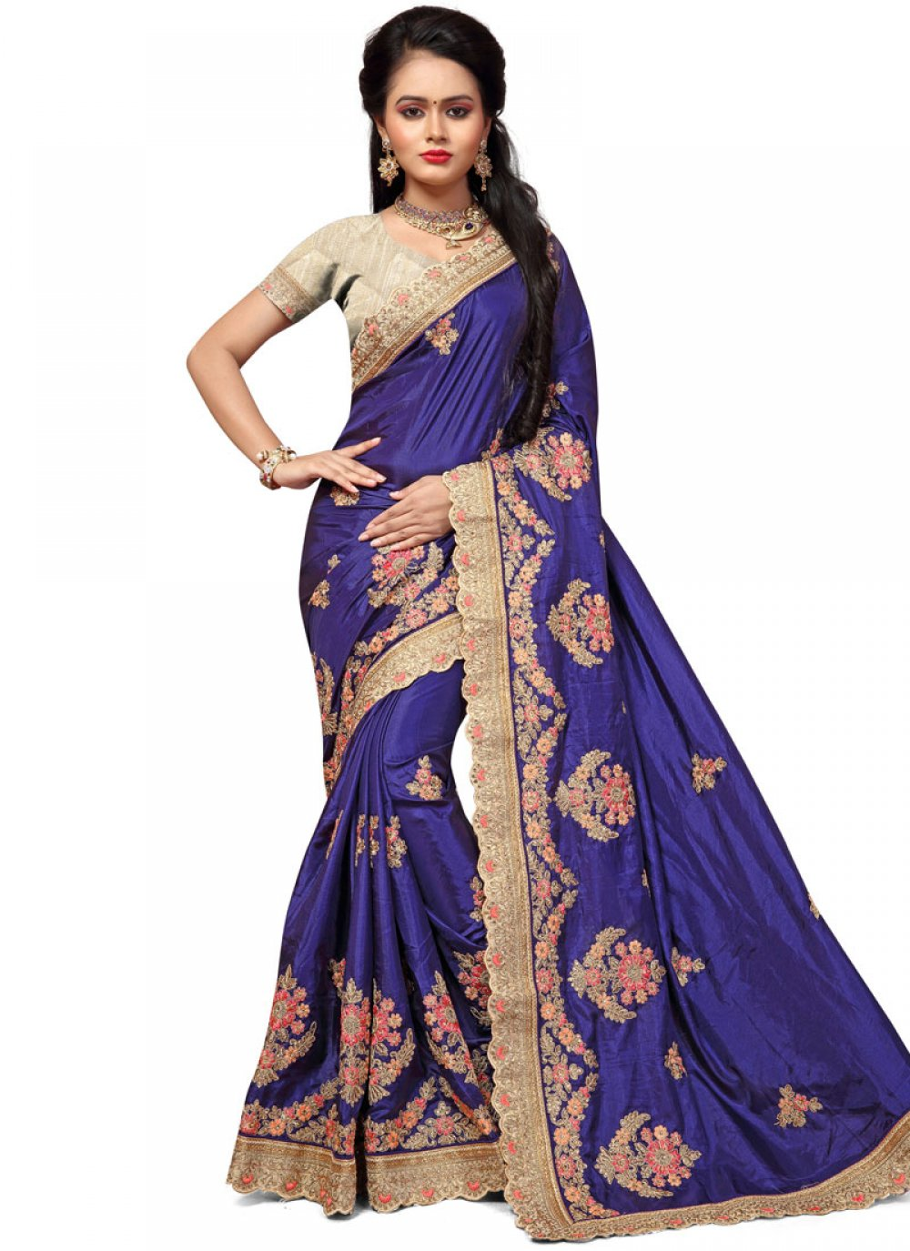 Embroidered Work Blue Designer Traditional Saree