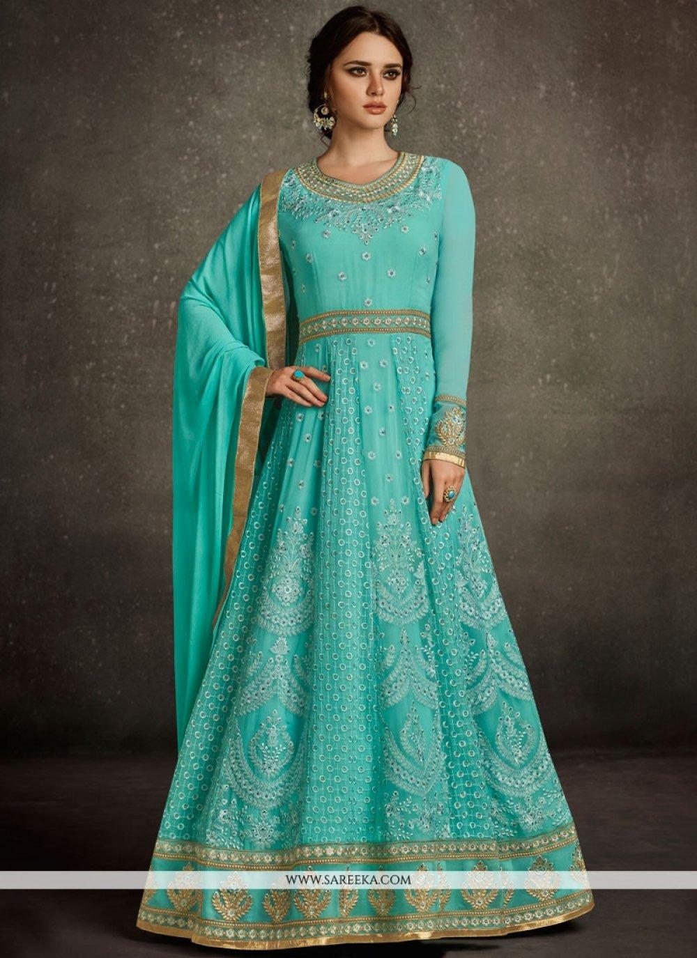 Embroidered Work Blue Floor Length Anarkali Suit