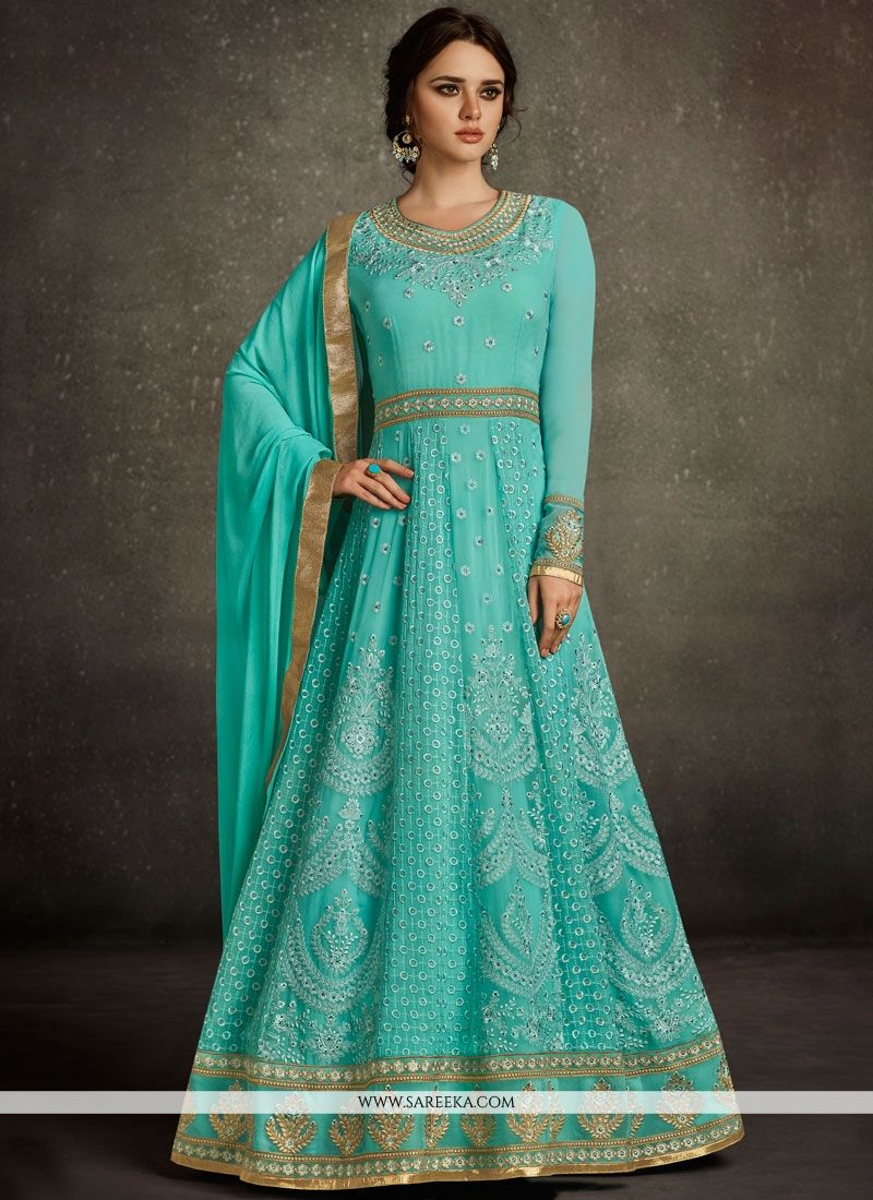Embroidered Work Blue Floor Length Anarkali Suit
