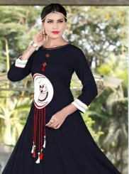 Embroidered Work Blue Rayon Party Wear Kurti