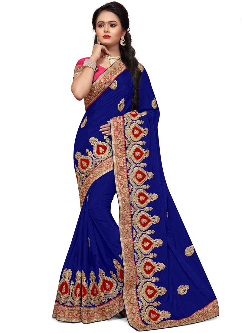 Embroidered Work Blue Traditional  Saree