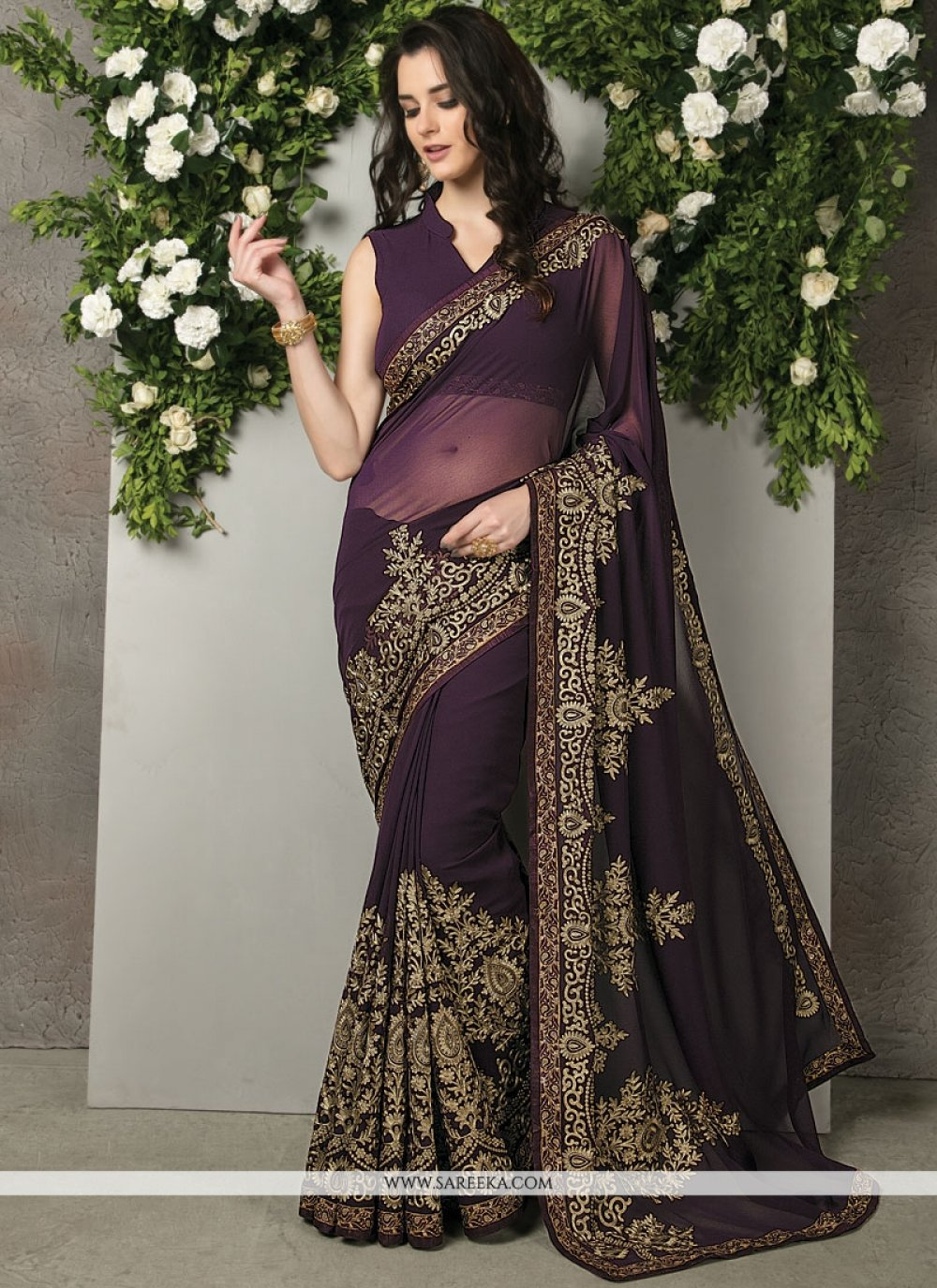 Embroidered Work Brasso Georgette Classic Designer Saree