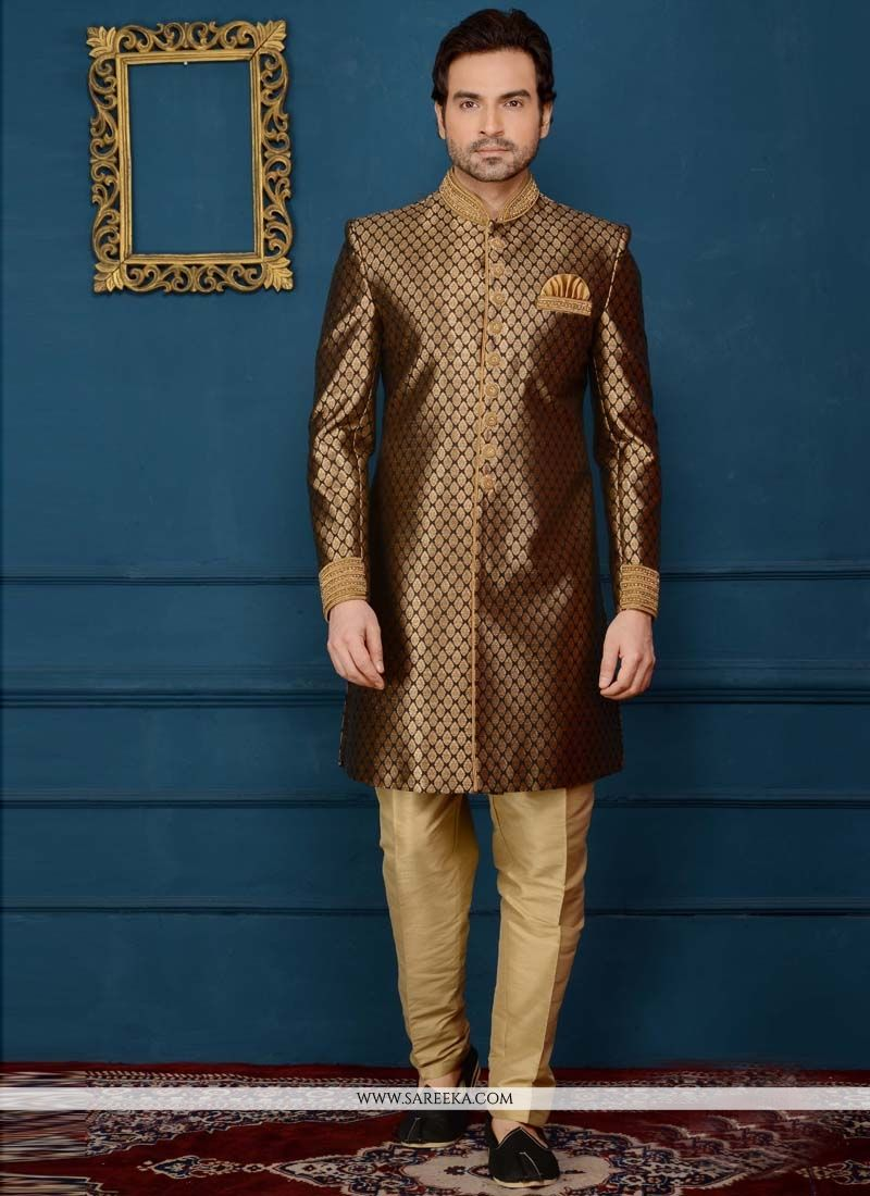 fe9a25b9029f Buy Embroidered Work Brocade Brown Indo Western Sherwani Online   76597 -