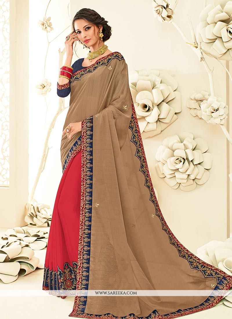 Embroidered Work Brown and Red Faux Chiffon Half N Half  Saree