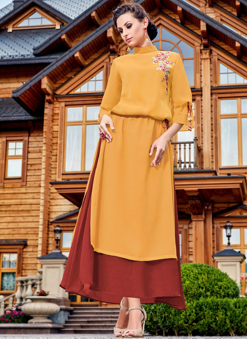 Embroidered Work Brown and Yellow Party Wear Kurti