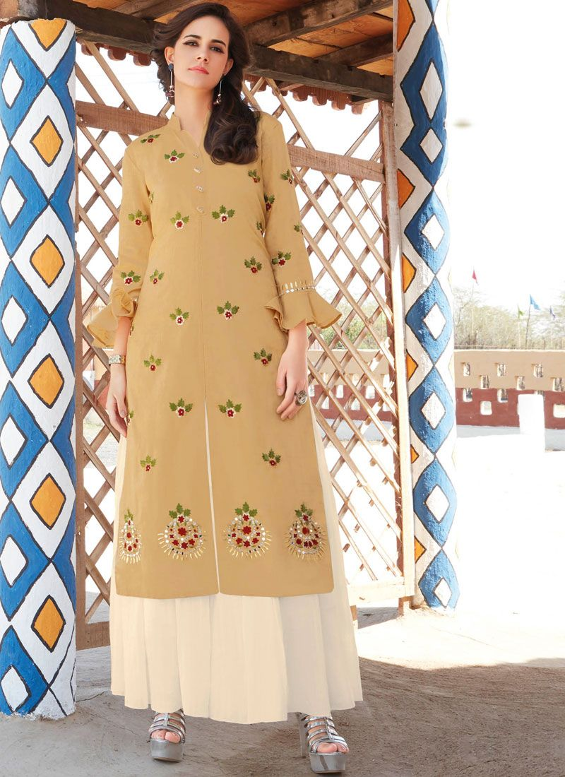 Embroidered Work Brown Cotton   Casual Kurti