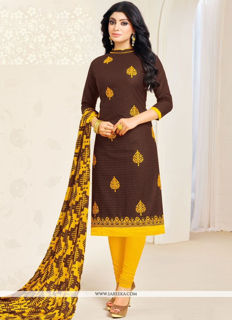 Embroidered Work Brown Cotton   Salwar Kameez