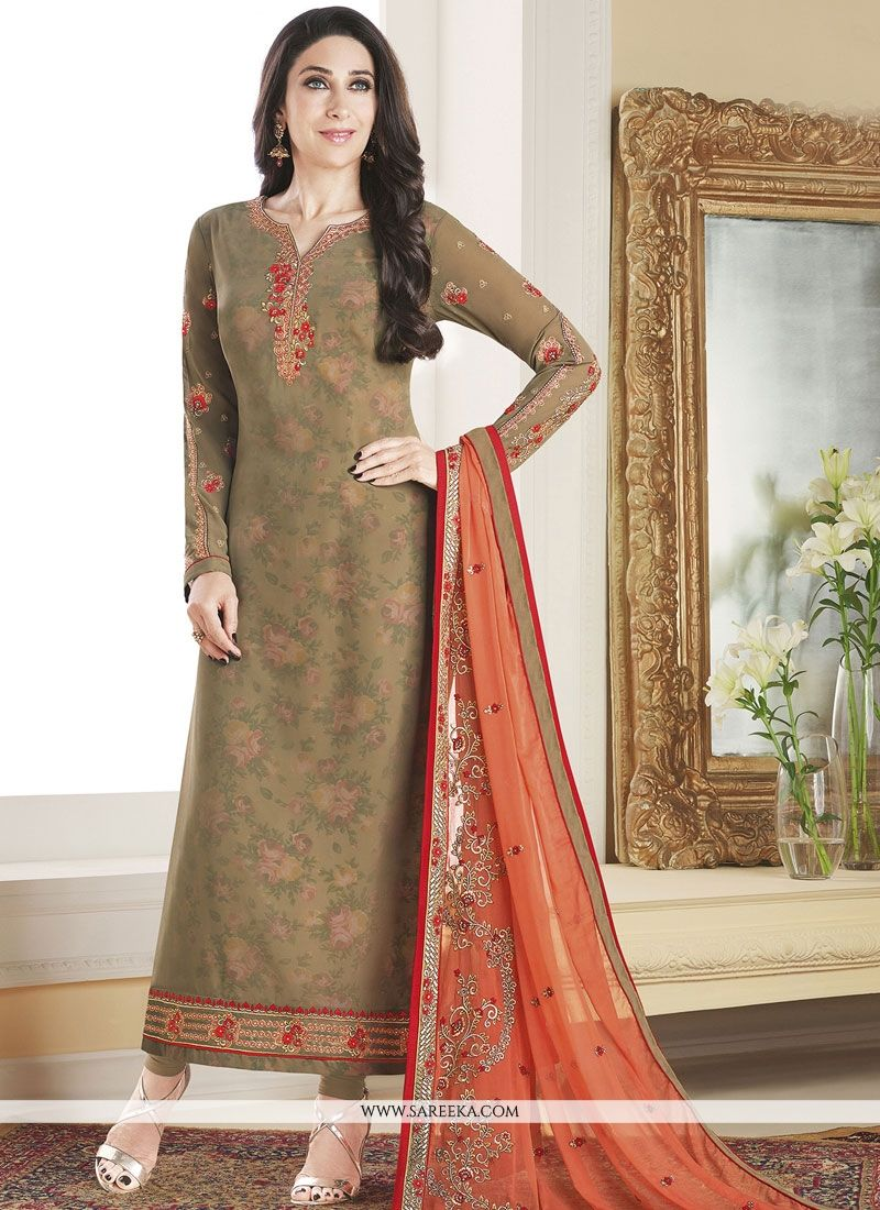 Embroidered Work Brown Faux Georgette Designer Straight Suit