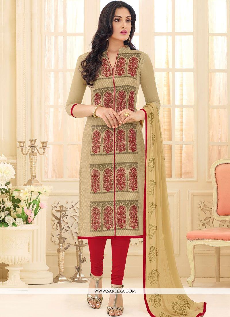 Embroidered Work Chanderi Churidar Suit