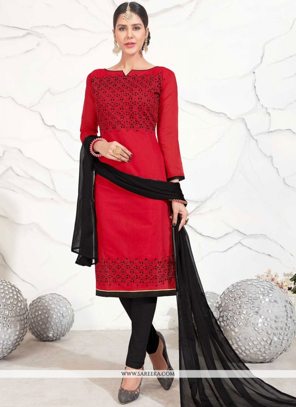 Embroidered Work Chanderi Cotton Red Churidar Suit