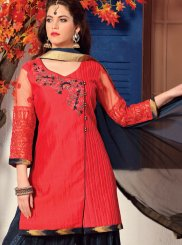 Embroidered Work Chanderi Red Readymade Suit