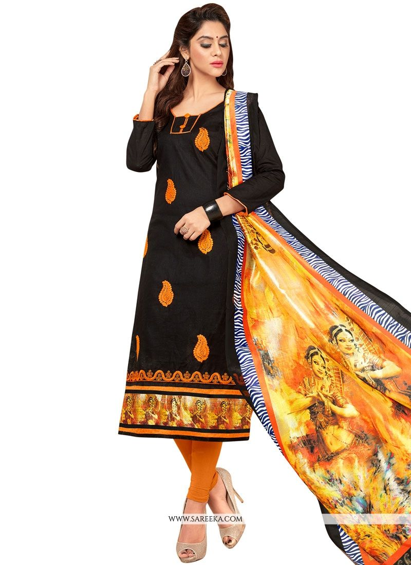 Embroidered Work Cotton   Black Salwar Suit