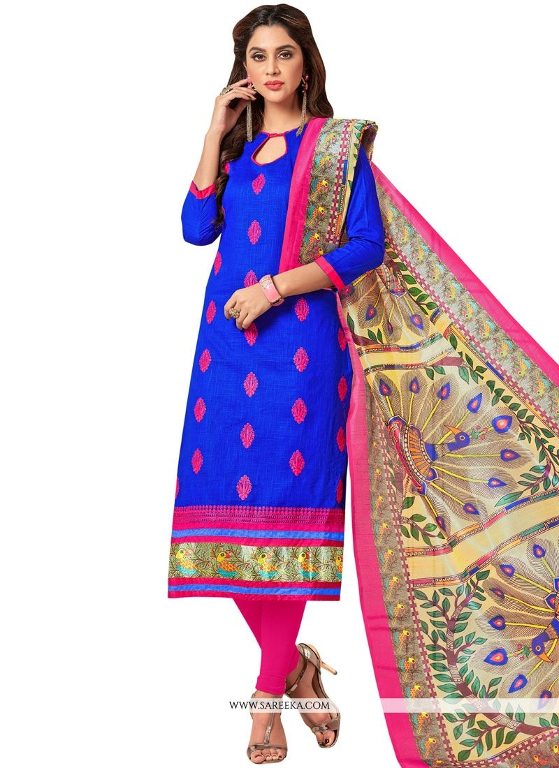 Embroidered Work Cotton   Blue Salwar Suit