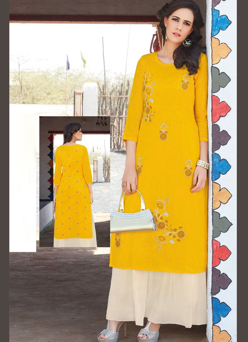 Embroidered Work Cotton   Casual Kurti
