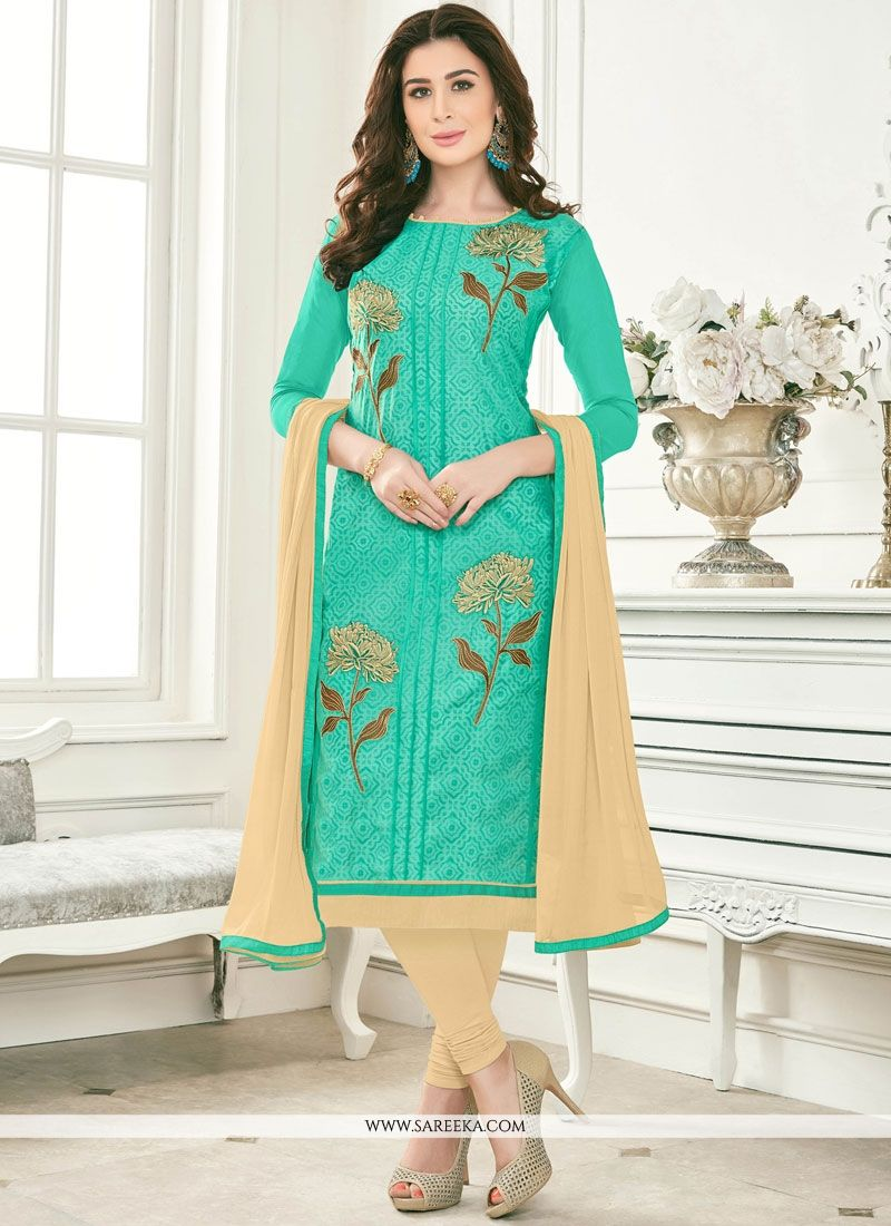 Buy Embroidered Work Cotton Churidar Suit Online -