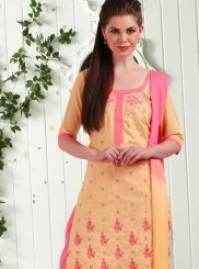 Embroidered Work Cotton   Cream Churidar Suit