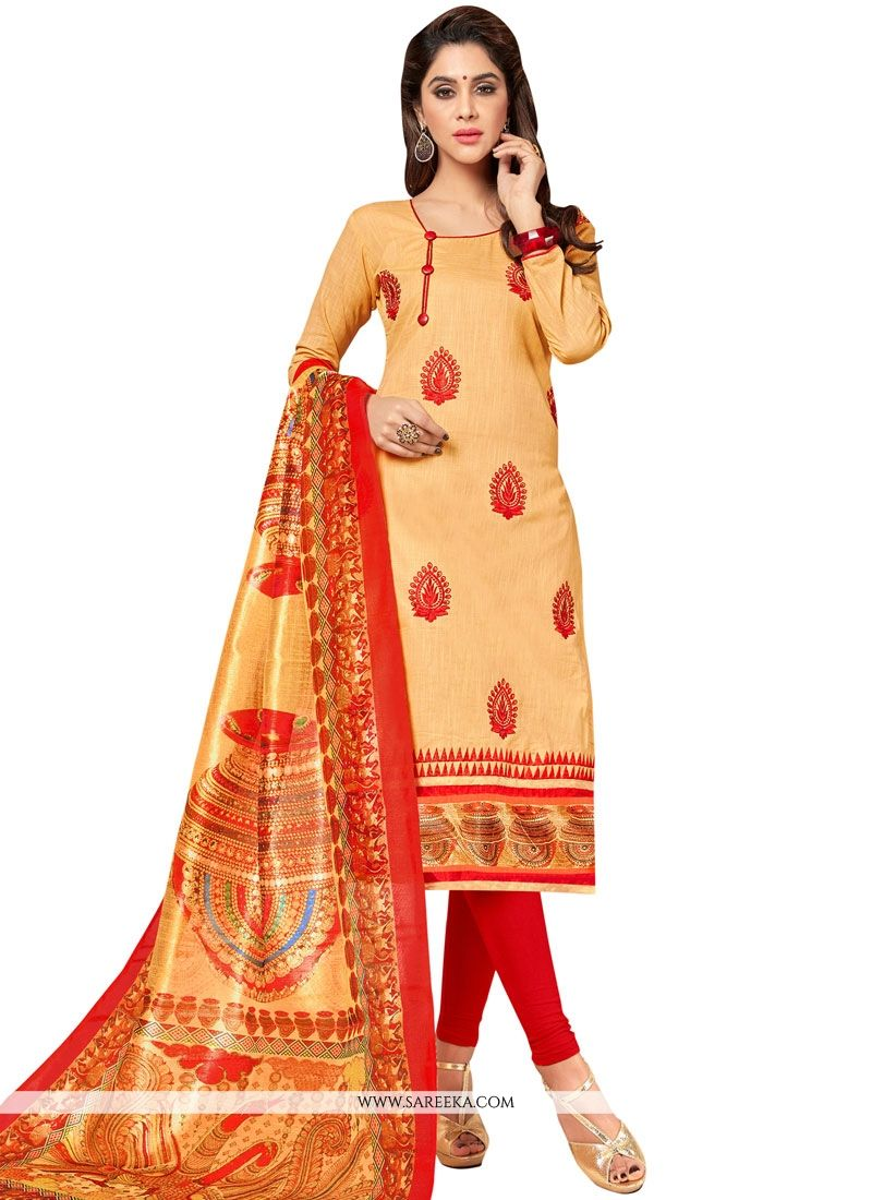 Embroidered Work Cotton   Cream Salwar Suit
