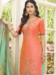 Embroidered Work Cotton Satin Designer Palazzo Suit