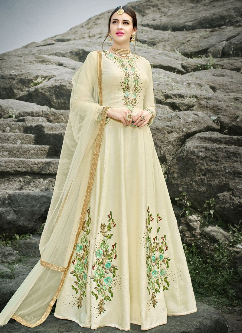 Embroidered Work Cream Art Silk Floor Length Anarkali Suit