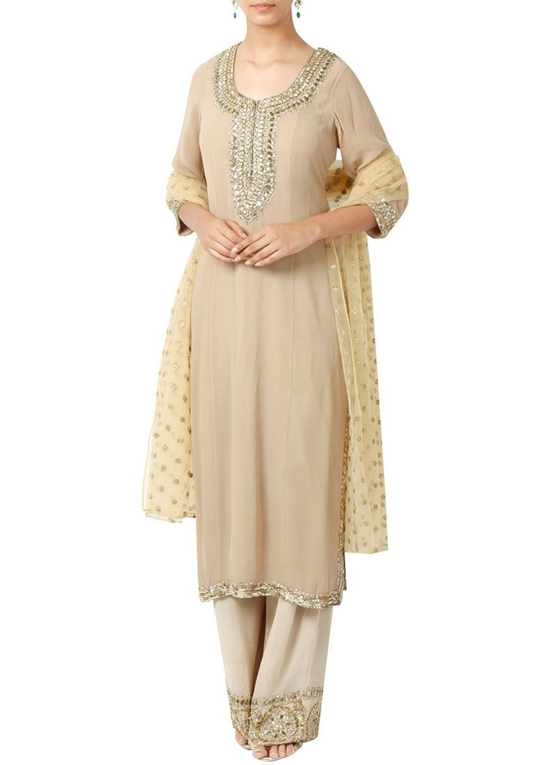 Embroidered Work Cream Designer Palazzo Suit