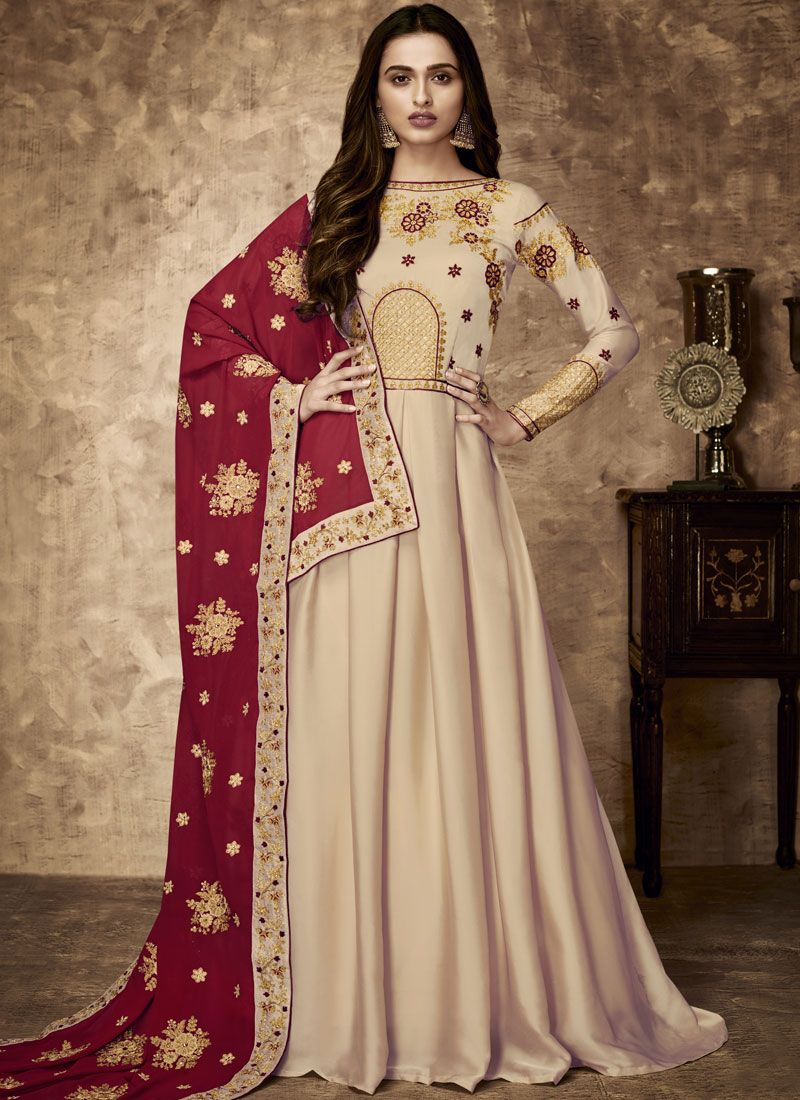 Embroidered Work Cream Floor Length Anarkali Suit