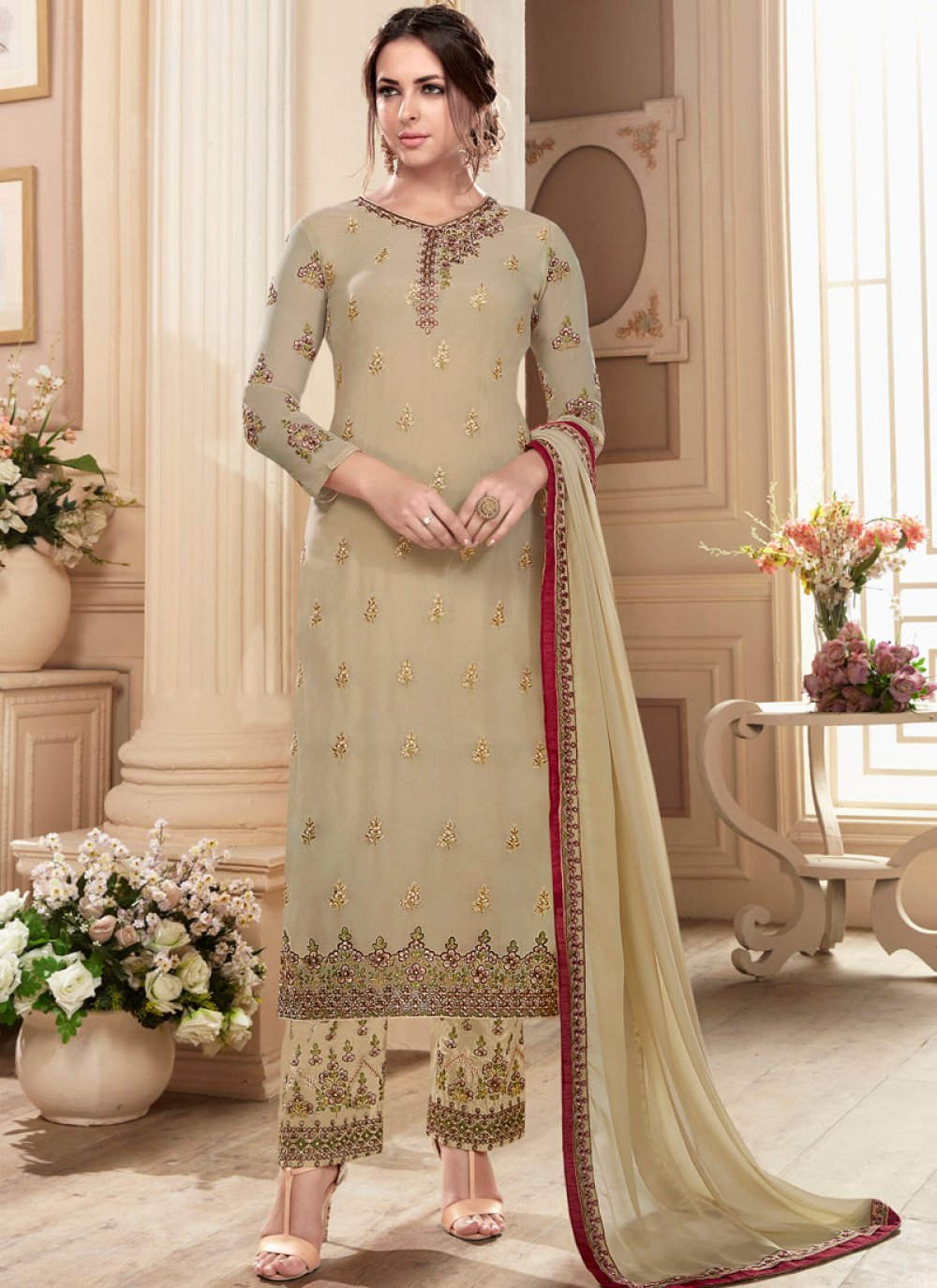 Embroidered Work Designer Straight Suit