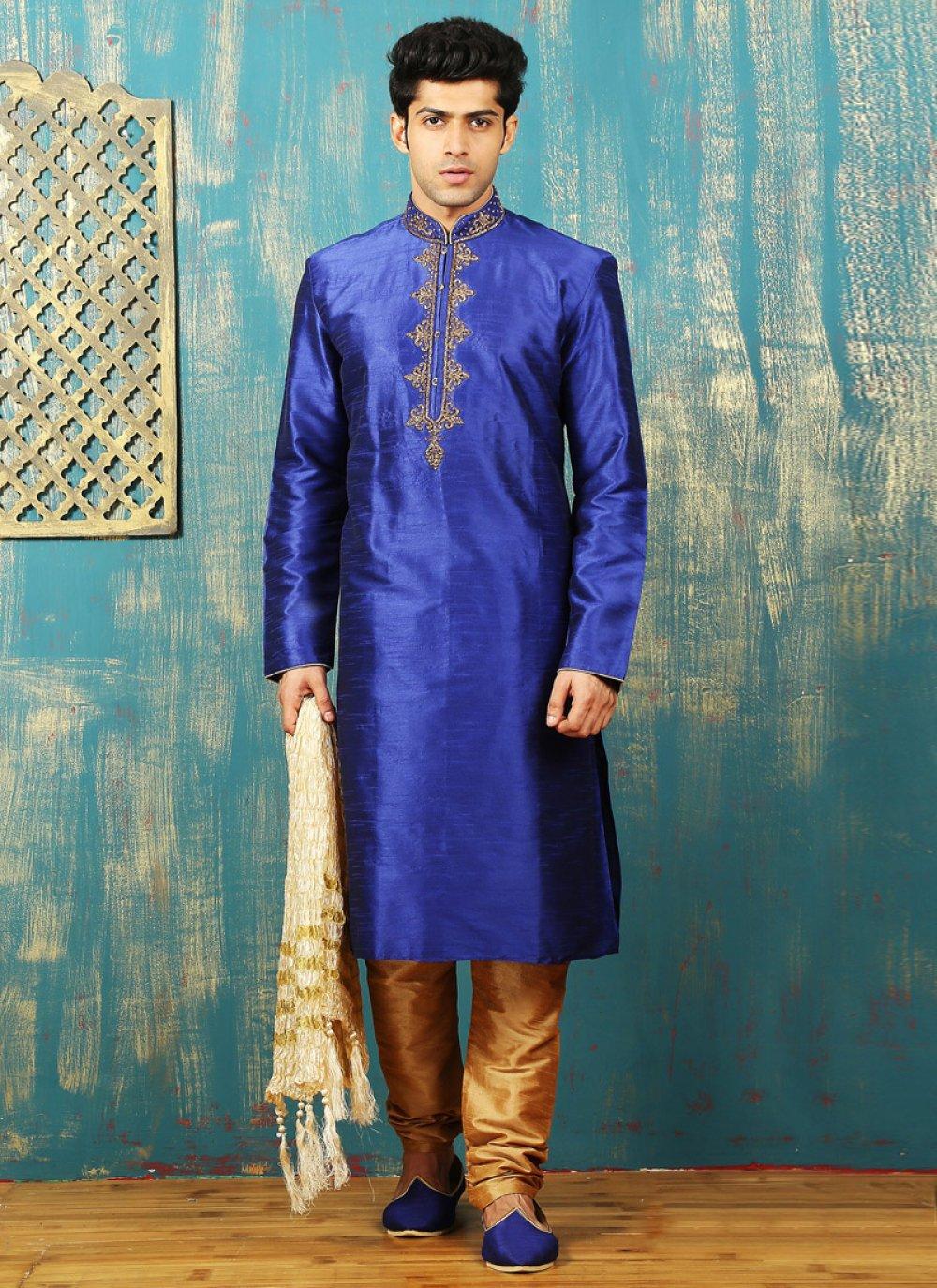 Embroidered Work Dupion Silk Blue Kurta Pyjama