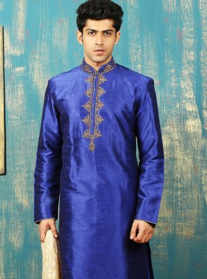 Embroidered Work Dupion Silk Blue Kurta Pyjama
