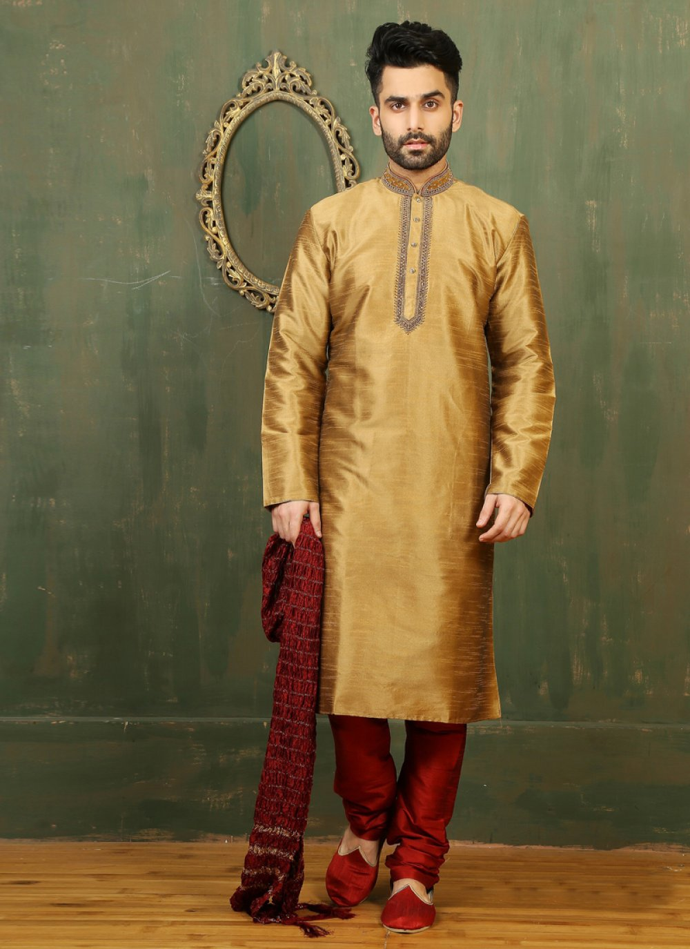 Embroidered Work Dupion Silk Gold Kurta Pyjama