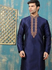 Embroidered Work Dupion Silk Navy Blue Kurta Pyjama