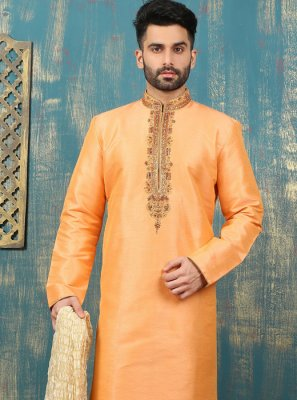 Embroidered Work Dupion Silk Peach Kurta Pyjama