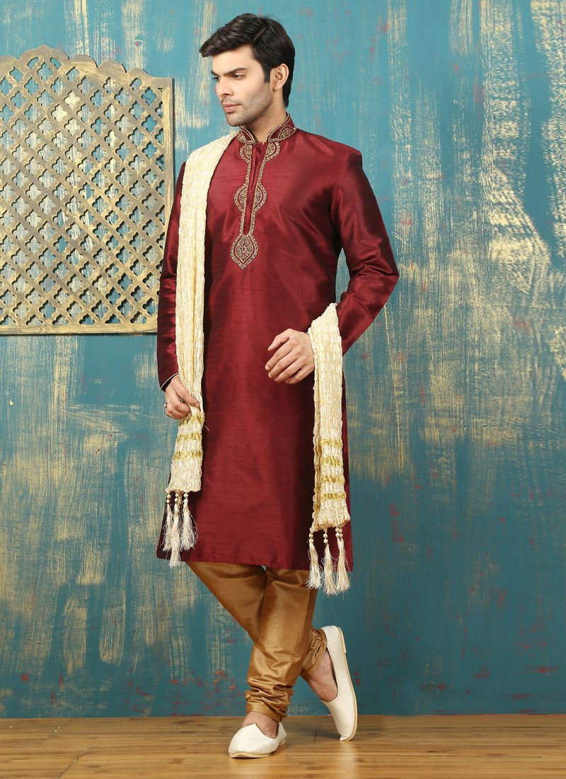 Embroidered Work Dupion Silk Wine Kurta Pyjama