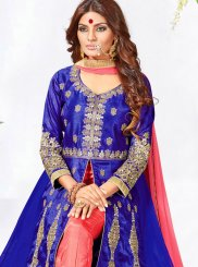 Embroidered Work Faux Georgette Blue Anarkali Salwar Kameez
