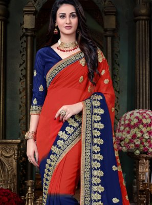 Embroidered Work Faux Georgette Classic Designer Saree
