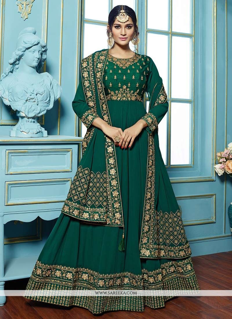 Embroidered Work Faux Georgette Floor Length Anarkali Suit