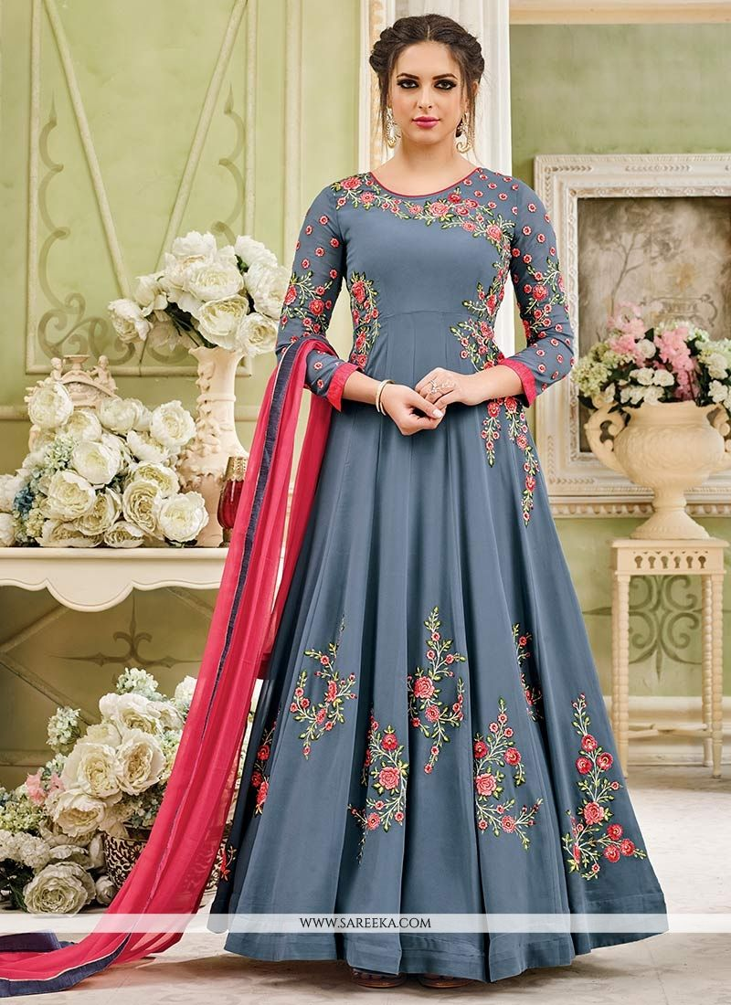 Embroidered Work Faux Georgette Grey Floor Length Anarkali Suit