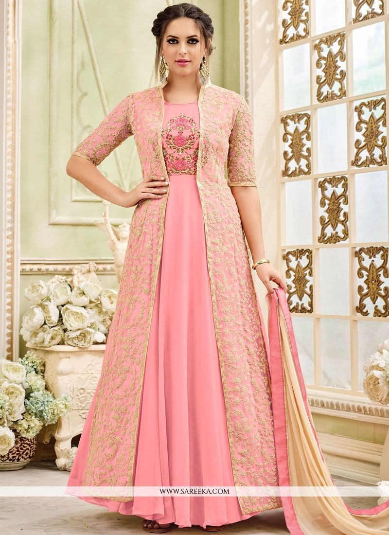 Embroidered Work Faux Georgette Pink Anarkali Salwar Kameez